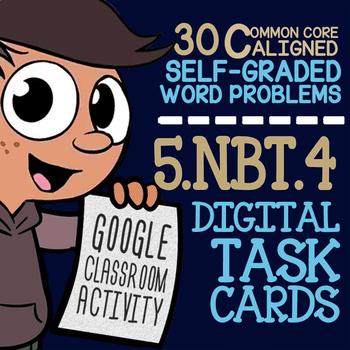 5.NBT.4 ROUNDING DECIMALS ★ Task Cards for Google Classroom ★ 5th Grade Activity