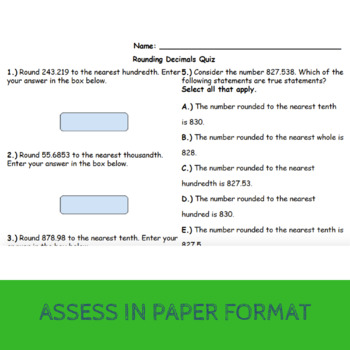 5.NBT.4 - Rounding Decimals (Google Forms + Paper)