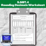 5.NBT.4-Rounding Decimals Worksheet