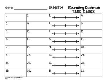 5.NBT.4 Task Cards: Rounding Decimals