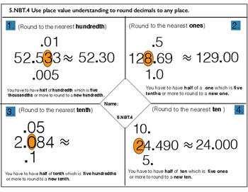 5.NBT.4 Use place value understanding to round decimals to any place.