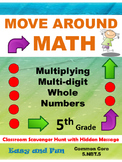 Multiplying Multi-digit Whole Numbers Scavenger Hunt: 5.NBT.5  5th Grade Math