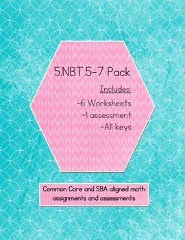 5.NBT.5-7 Bundle, 6 WS, 1 Assessment (KEYS INCLUDED)