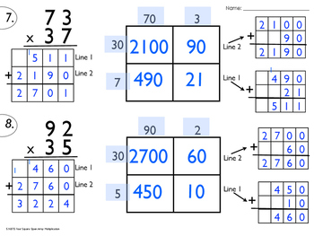 5.NBT.5 Four Square Open Array Multiplication