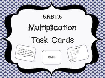 5.NBT.5 Multi Digit Multiplication Task Cards