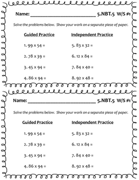 5.NBT.5 (Multiplication) Worksheets by Plan Teach Grade Repeat | TpT