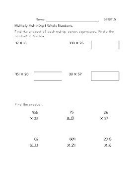 5.NBT.5 - Multiply Whole Numbers (KEY INCLUDED)