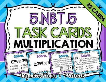 5.NBT.5 Task Cards: Multi-Digit Multiplication