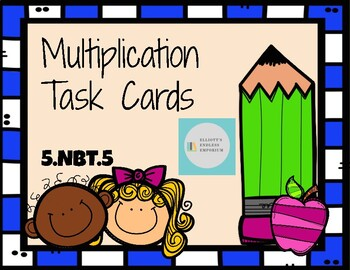 5.NBT.5 Two and Three Digit Multiplication Task Cards