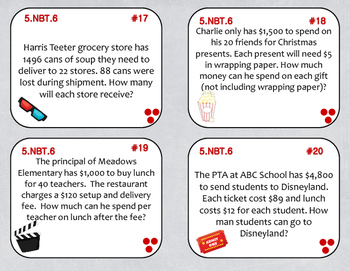 5.NBT.6 (Division Word Problems) Task Cards