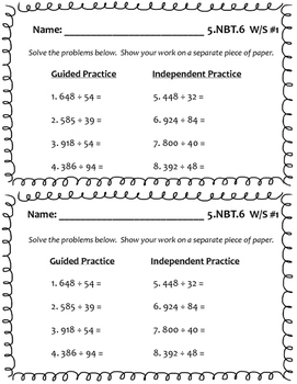 5.NBT.6 (Division) Worksheets by Plan Teach Grade Repeat | TpT