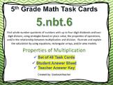 5.NBT.6 Math Task Cards Properties of Multiplication