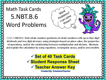 5.NBT.6 Math Task Cards  Word Problems