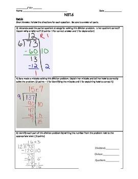 5.NBT.6 Partial Quotient Quiz with Example
