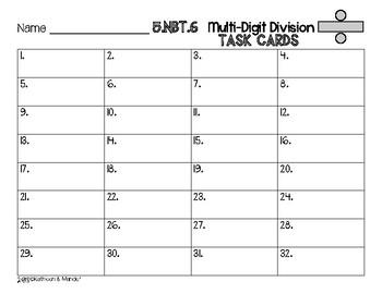 5.NBT.6 Task Cards: Multi-Digit Division