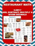 5.NBT.7 (Add & Subtract Decimals) Restaurant Math-Dominos