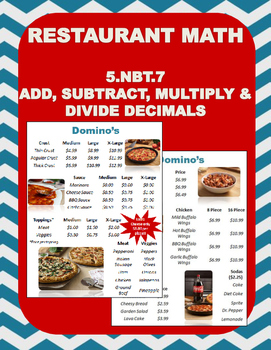 5.NBT.7 (Add & Subtract Decimals) Restaurant Math-Dominos