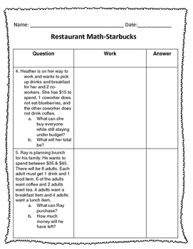 5.NBT.7 (Add & Subtract Decimals) Restaurant Math-Starbucks