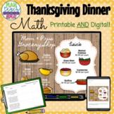 5.NBT.7 (Add, Subtract, Multiply & Divide Decimals) Thanksgiving Dinner