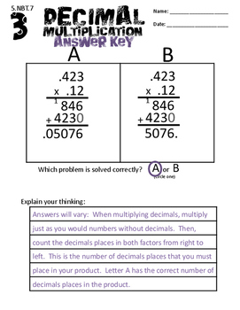 5.NBT.7 Adding, Subtracting, Multiplication, and Division of Decimals