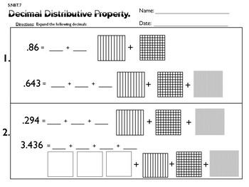 5.NBT.7 Decimal Distributive Property