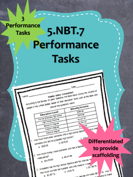 5.NBT.7 (+-*/ Decimals) Performance Tasks