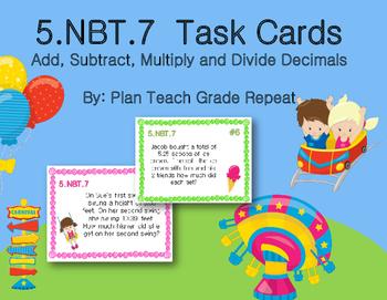 5.NBT.7 (+- * / Decimals) Task Cards