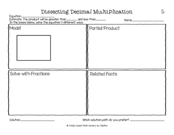 5.NBT.7 Dissecting Decimal Multiplication Part 2:  Decimals by Decimals