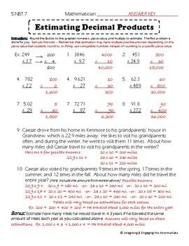 5.NBT.7 Estimating Decimal Products Practice