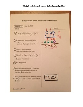5.NBT.7 Multiply a decimal by a whole number using algorithm cornell notes