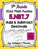 5.NBT.7 Practice Sheets: Add & Subtract Decimals