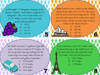 5.NBT.7 Task Cards word problems