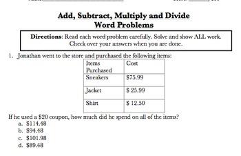 5.NBT.7 Word Problems