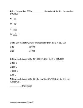 5.NBT.A1 and 5.NBT.A2 Assessment/Assignment