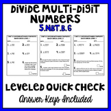 5.NBT.B.6 Division with Multi-Digit Numbers Leveled Quick Check