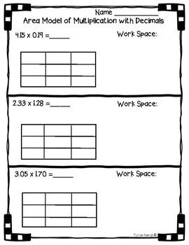 5 nbt b 7 area model with multiplication of decimals worksheet practice. Black Bedroom Furniture Sets. Home Design Ideas