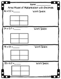 5.NBT.B.7 - Area Model with Multiplication of Decimals Worksheet Practice