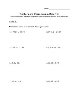 5.NBT.B.7 Decimals - Add, Subtract, Multiply, Divide