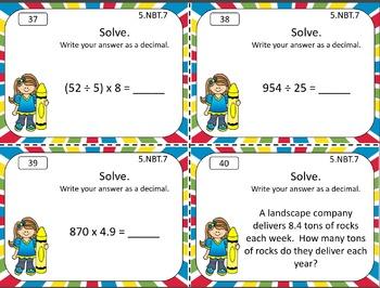 5.NBT.B.7 Math Task Cards Bundle Decimals