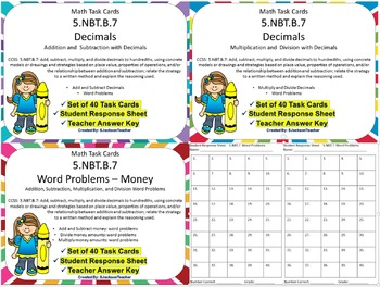 5.NBT.B.7 Math Task Cards Bundle Decimals