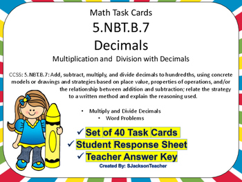 5.NBT.B.7 Math Task Cards Multiplication and Division Decimals