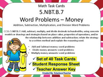 5.NBT.B.7 Math Task Cards Word Problems: Money
