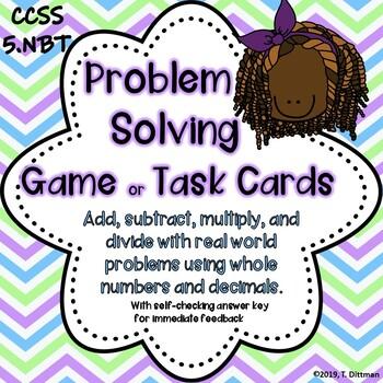 5.NBT Whole Number Problem Solving Task Cards/Game
