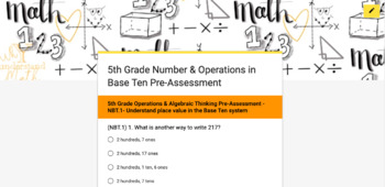 NBT 5th Grade Common Core Math- Vertical Alignment & Google Forms Pre-Assessment