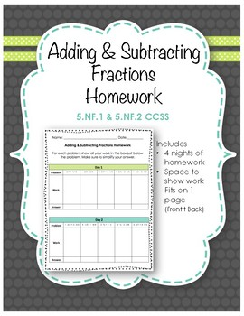 5.NF.1 & 5.NF.2 (Adding & Subtracting Fractions) Homework