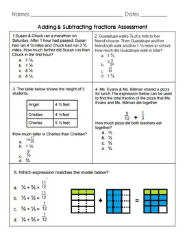 5.NF.1 & 5.NF.2 Assessment