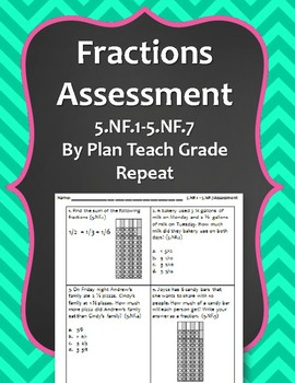 5.NF.1-5.NF.7 (Add, Subtract, Multiply & Divide Fractions) Assessment