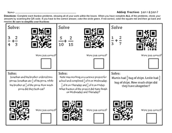 5.NF.1 Adding and Subtracting Fraction QR Scan