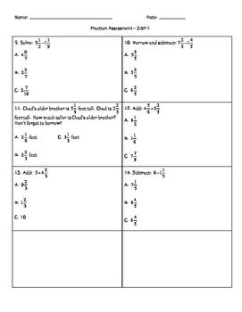 5.NF.1 Multiple Choice Fraction Test