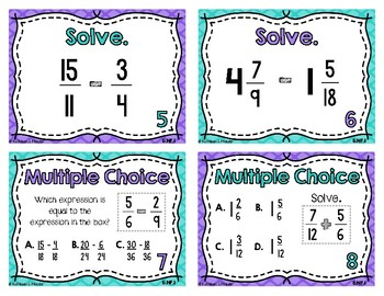 5.NF.1 Task Cards: Add & Subtract Unlike Fractions and Mixed Numbers